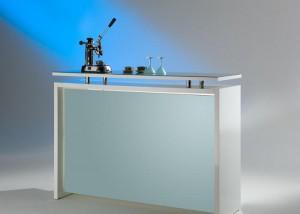 Office Bartheke, Bar Hochglanz lackiert, Farbe Weiß