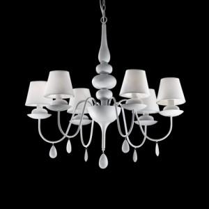Kronleuchter mit weißen Lampenschirmen, 6 flammig