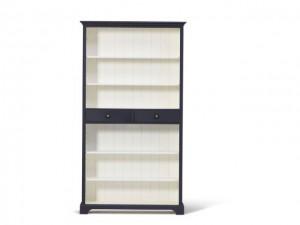 Bücherschrank schwarz-weiß Massivholz, Bücherregal im Landhausstil, Regal schwarz-weiß