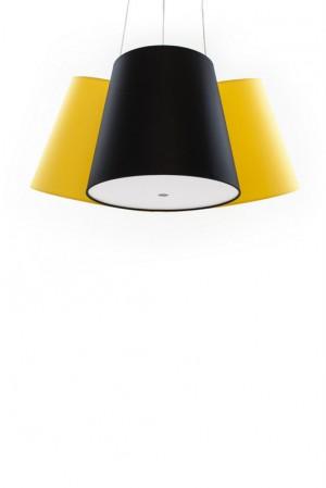 Hängeleuchte mit drei Lampenschirmen gelb und schwarz, moderne Hängelampe in verschiedenen Farben