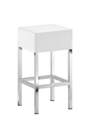 Design Barhocker mit  verchromten Gestell, Tresenhocker gepolstert Weiß, Sitzhöhe 65 cm