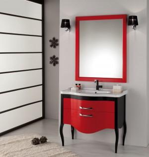 Waschtisch mit Spiegel im Landhausstil in verschidenen Farben, Breite 95 cm