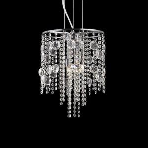 Pendelleuchte Kristall transparent, Metall chrom, modern