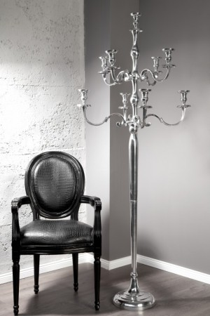 Kerzenständer Aluminium, Kerzenhalter aus Aluminium, Höhe 180 cm