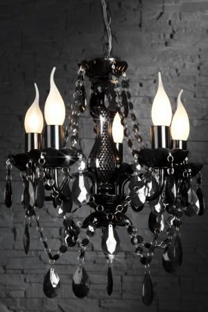 Kronleuchter aus Acrylglas, 5-armig, Farbe schwarz, Durchmesser 53 cm