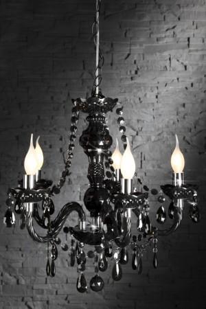 Kronleuchter aus Acrylglas, 5-armig, Farbe schwarz, Durchmesser 37 cm