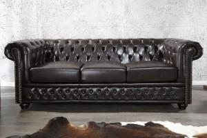 3er Sitzer Sofa Chesterfield braun, Sofa braun, Breite 209 cm