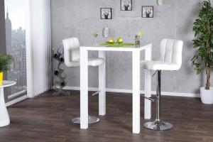 Bartisch weiß Hochglanz,  Stehtisch weiß,  Höhe 105 cm