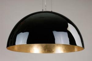 Moderne Pendelleuchte Kuppel, Farben Schwarz-Gold, Durchmesser 120 cm