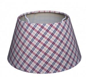 Lampenschirm aus Textil in rot, blau, weiß, kariert, Durchmesser 14/ 25/ 30 cm
