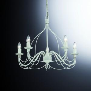 Kronleuchter Metall weiß antikisiert, landhausstil, klassisch