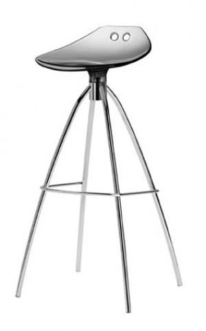 Design Bar-Tresenhocker, Farbe Grau - Chrom, Sitzhöhe 80 cm