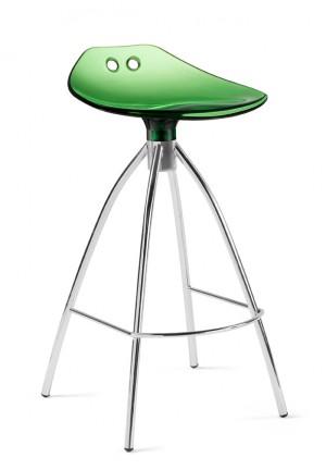 Design Bar-Tresenhocker, Farbe Grün - Chrom, Sitzhöhe 65 cm