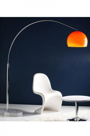 Bogen-/ Stehleuchte im modern Stil Schirm orange 195 cm