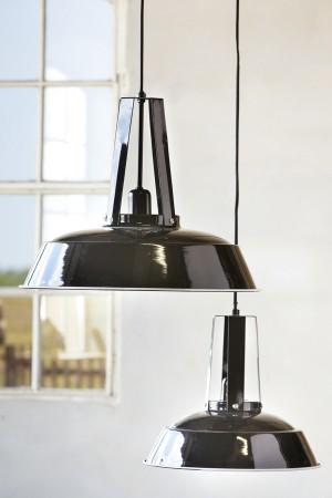Hängeleuchte schwarz im Industriedesign, Pendelleuchte schwarz, Durchmesser 34 cm