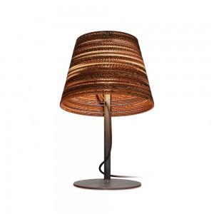 Design Tischleuchte, Lampenschirm aus recycelten Kartons, Tischlampe, Farbe beige/braun, Höhe 56 cm