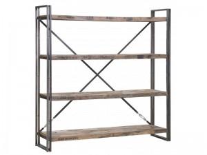 Regal im Industriedesign, Bücherregal aus Metall und Holz, Höhe 164 cm