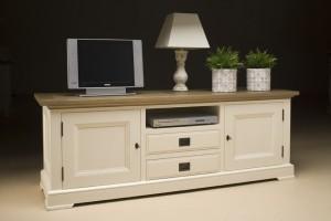 TV Schrank, Lowboard im Landhausstil in zwei Farben: creme-weiß und schwarz