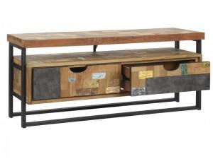 TV Regal im Industriedesign, Lowboard aus Metall und Holz mit zwei Schubladen, Länge 112 cm