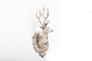 Hirschgeweih Metall Silber, Hirschkopf Aluminium, Höhe 66 cm
