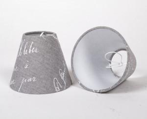 KIemmschirm grau, Aufsteckschirm grau,  Lampenschirm für Kronleuchter, Form rund Ø 14 cm