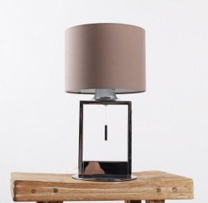 Moderne Tischleuchte verchromt mit Lampenschirm