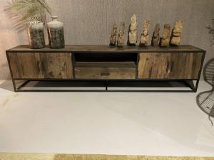 Fernsehschrank Industriedesign, TV Schrank Metall-Gestell, TV Regal, Breite 240  cm