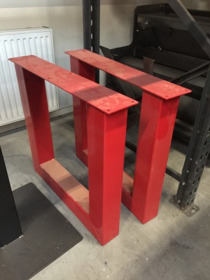 Tischgestell rot Metall Industriedesign, Tischgestell Metall Industrie