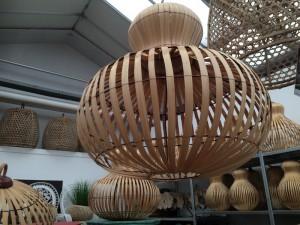 Hängeleuchte Bamboo, Pendelleuchte, Lampenschirm, Ø ca. 50 cm