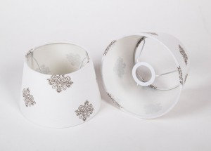 Lampenschirm mit Muster rund, Farbe Weiß, Ø 25 cm