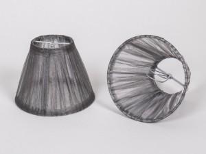 KIemmschirm Organza Grau/Silber, Lampenschirm für Kronleuchter, Form rund Ø 14 cm