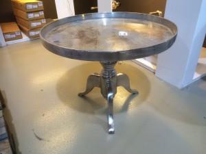 Couchtisch Silber, Beistelltisch Metall, Durchmesser 56 cm