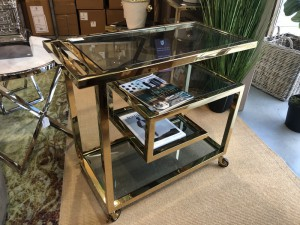 Servierwagen Gold Glas Metall, Serviertisch Metall Glas, Bar Trolley Gold