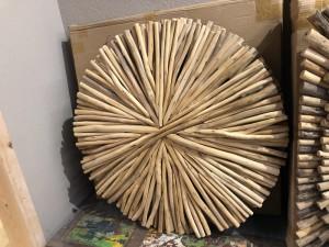 Wandobjekt Altholz, Deko-Wandbild Altholz, Dekorationsobjekt Holz, Durchmesser 85 cm