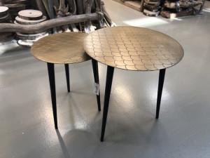2er Set Beistelltisch, Couchtisch Bronze, runder Beistelltisch Metall, Durchmesser 35-45 cm
