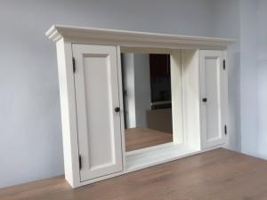 Spiegelschrank weiß  Massivholz,  Badezimmer Spiegel weiß im Landhausstil, Maße 131 x 80 cm
