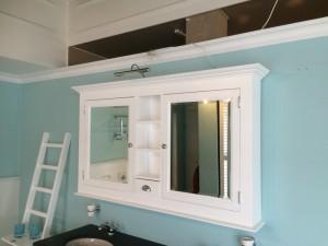 Spiegelschrank weiß im Landhausstil, Spiegel weiß, Breite 138 cm