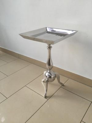 Beistelltisch quadratisch Silber,  Metall Barock Beistelltisch, Ø 35 cm