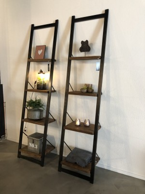 Wandregal schwarz-Naturholz, Regal Industrie schwarz,  Breite 60 cm