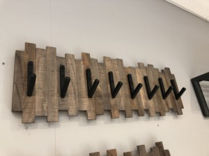 Wandgarderobe Holz-Metall, Garderobe Holz, Breite 70 cm