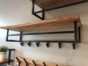 Wandgarderobe mit Hutablage, Garderobe Holz-Metall, Garderobe Landhaus, Breite 100 cm
