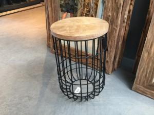 Beistelltisch Industriedesign Metall-Holz, Beistelltisch Metall schwarz, Höhe 56  cm