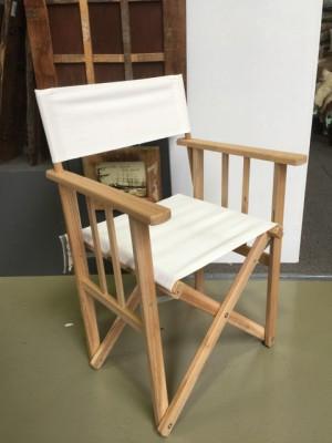 Regiestuhl weiß Massivholz, Stuhl weiß