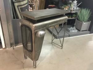 Traktortisch grau, Bartisch grau-silber Theke, , Bartisch im Industriedesign, Höhe 104 cm