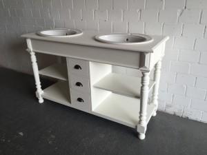 Waschtisch weiß Massivholz, Doppelwaschtisch im Landhausstil, Spiegel weiß