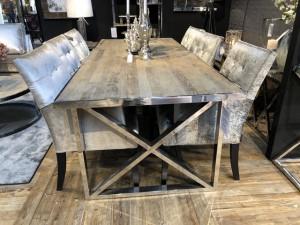 Esstisch Silber Gestell, Tisch verchromt, Breite 200 cm