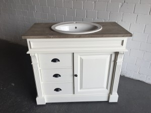 Waschtisch weiß-braun Massivholz,  Waschtisch im Landhausstil, Spiegel optional