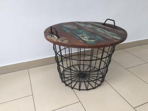Couchtisch, Beistelltisch aus Metall-Massivholz im Industriedesign, Durchmesser 60 cm
