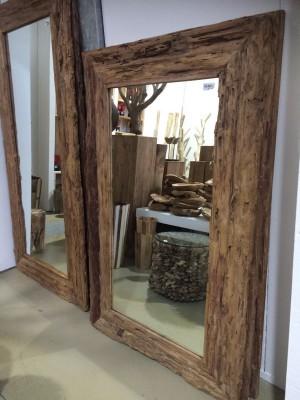 Spiegel Teakholz recycled, Wandspiegel Holzrahmen, Maße 160 x 100 cm