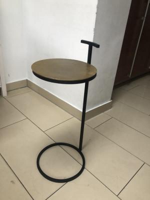 Beistelltisch Gold-schwarz, runder Beistelltisch Metall, Durchmesser 26 cm